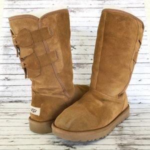 Ugg Allegra Bow II Boots Chestnut Size 8